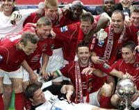 Voetbalclub Ebbsfleet mt de FA trophy
